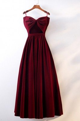 Cute Big Bow Burgundy Long...