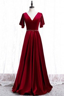 Elegant Long Velvet Evening...