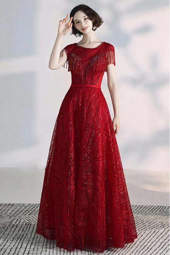 Bling Sequins Burgundy Long Red Formal Dress With Illusion Neckline