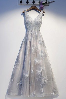 Silver Grey Aline Beaded...