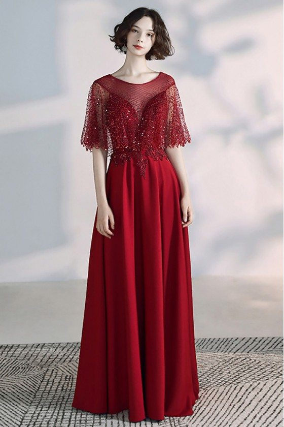 Elegant Long Red Formal Dress Burgundy With Cape Sleeves Sequined