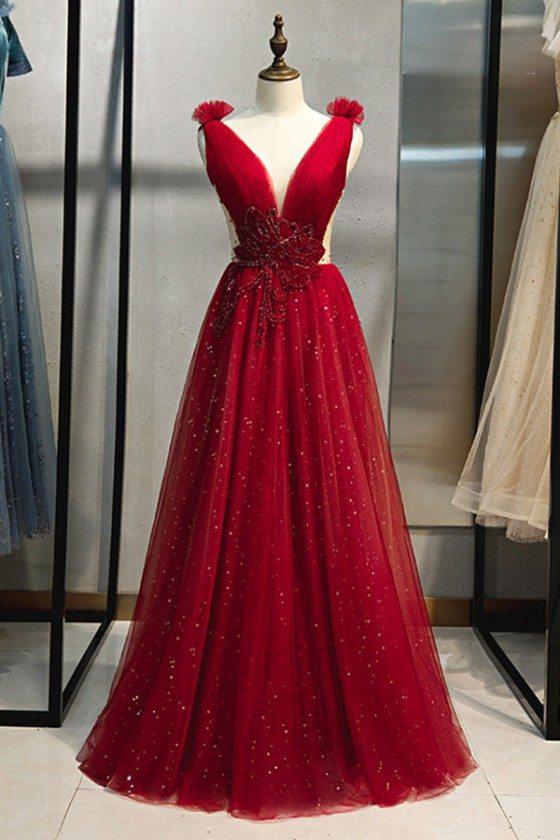 Burgundy Long Tulle Bling Prom Dress With Deep Vneck
