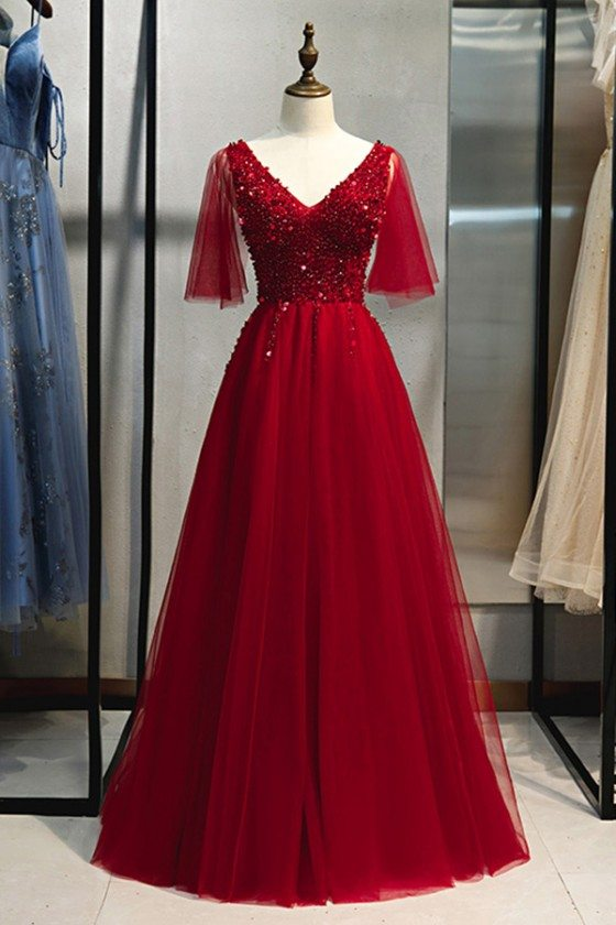 Puffy Sleeves Aline Long Prom Dress Vneck With Beading - MYS79035