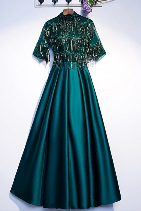 Green Formal Long Evening Party Dress With Sequins Sleeves
