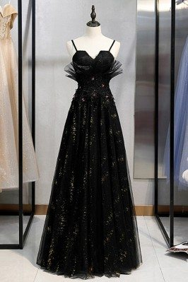 Long Black Beaded Tulle...