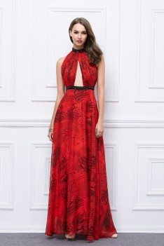 Red Printed Long Halter Open Back Prom Dress