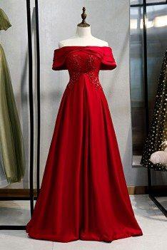 Formal Long Burgundy Satin Evening Dress With Off Shoulder - MYS79062