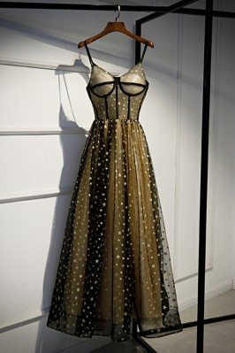 Bling Stars Corset Top Black Tulle Prom Dress With Straps - MYS79046