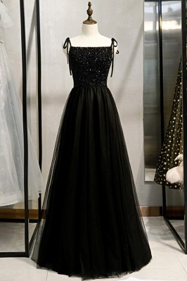 Beaded Top Long Black Prom...