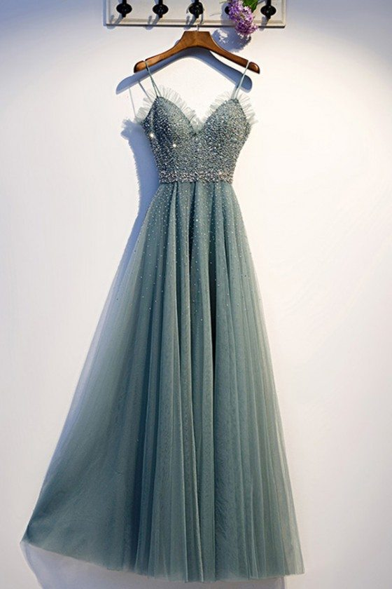 Dusty Long Green Tulle Flowy Prom Dress With Straps - MYS67011