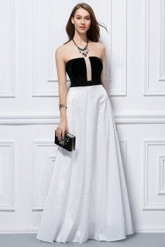 Simple Two Tone Strapless Long Dress