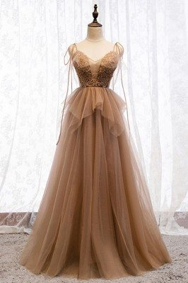 Flowy Brown Long Tulle Prom...