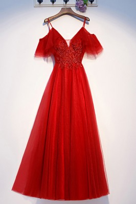 Long Red Tulle Sleeve Cute...