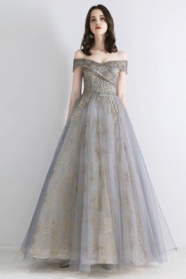 Best Grey Tulle Long Prom...