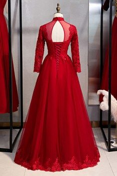Burgundy Long Tulle Formal Dress With Long Lace Sleeves - MYS79089