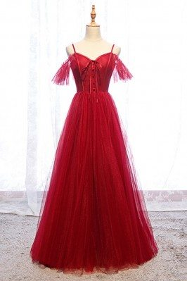 Cute Long Tulle Burgundy...