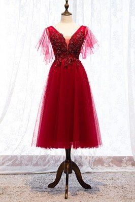 Beaded Lace Vneck Burgundy...