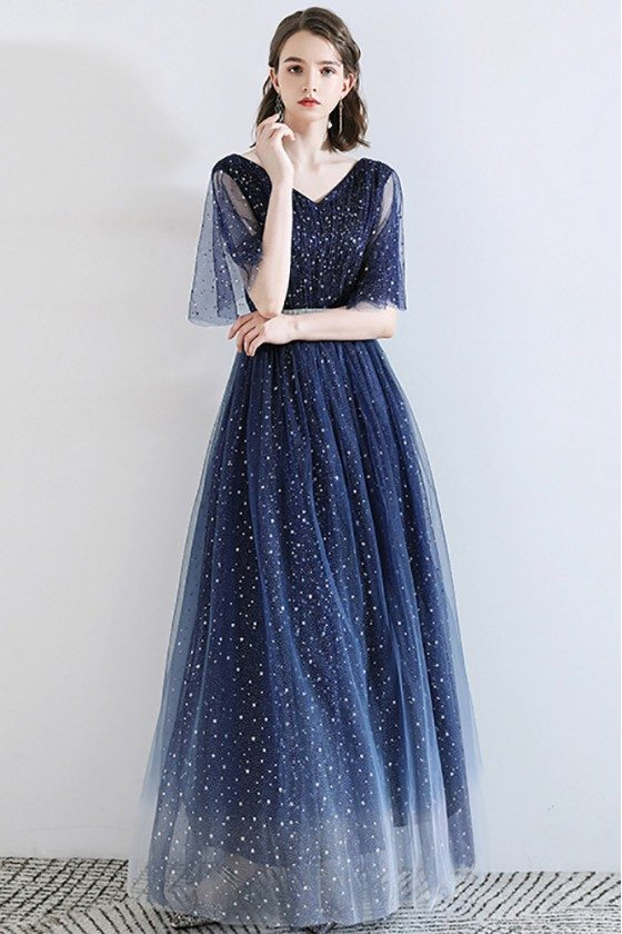 Sparkly Stars Navy Blue Long Tulle Prom Dress With Puffy Sleeves - DWS78004