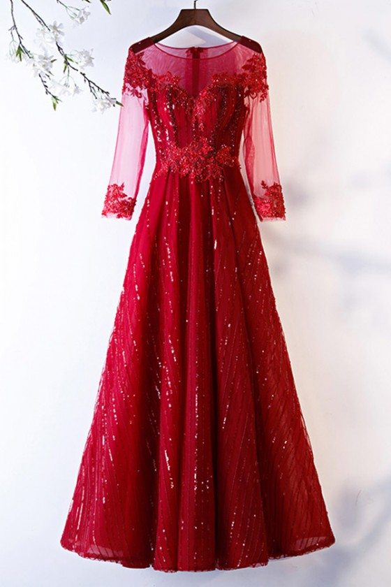 Special Long Sleeve Aline Burgundy Formal Dress With Sequins - MYS68016