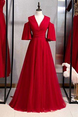 Long Burgundy Formal Dress...