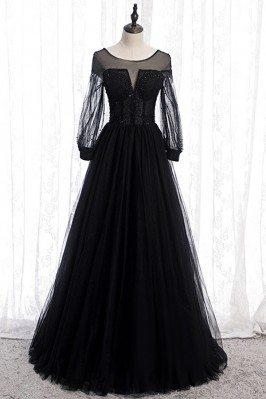 Black Tulle Formal Aline...