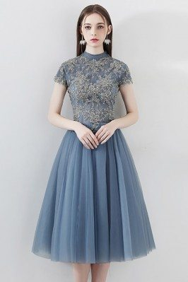 Dusty Blue Short Tulle...