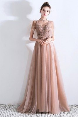 Flowy Champagne Long Tulle...