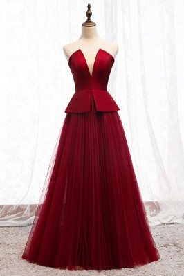 Formal Chic Burgundy Tulle...