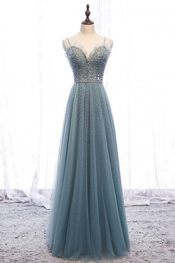 Bling Sequins Long Tulle Slim Prom Dress Dusty Green With Straps - MYS79002