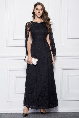 Long Lace Cape Style Party Dress