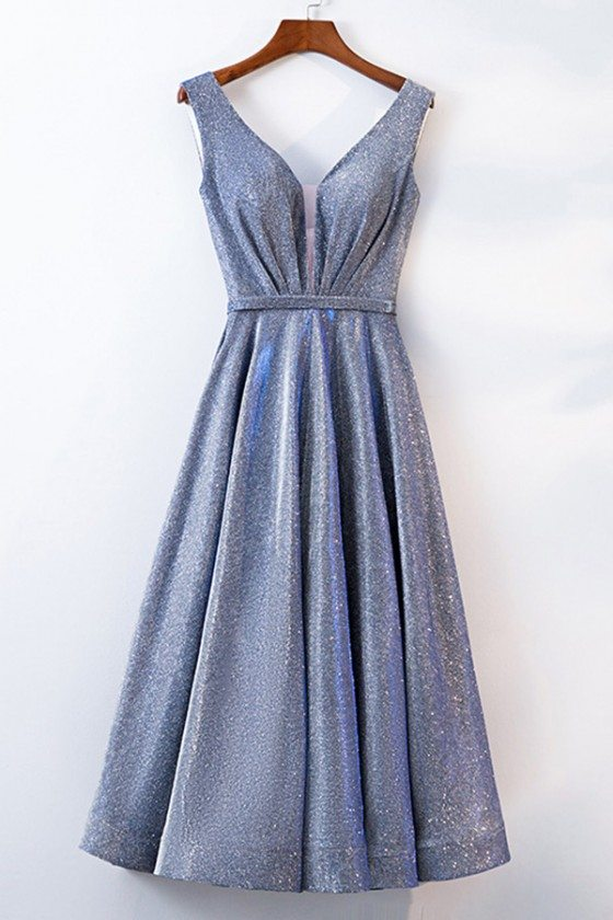 Special Vneck Tea Length Party Dress With Metallic Fabric