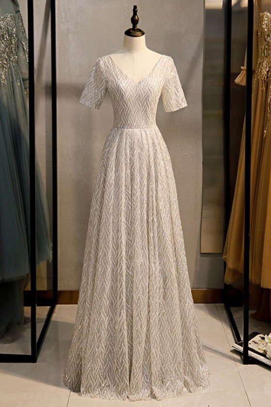 Modest Vneck Long Formal Sequins Evening Dress With Sleeves