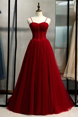 Burgundy Long Tulle Ballgown Prom Dress With Straps - MYS79049