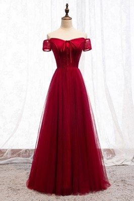 Burgundy Long Red Aline...