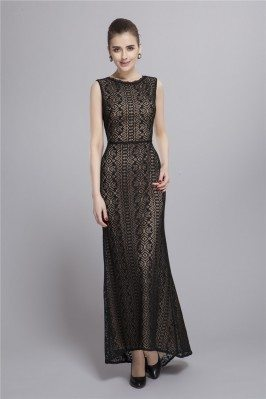 Black Lace Open Back Formal Dress