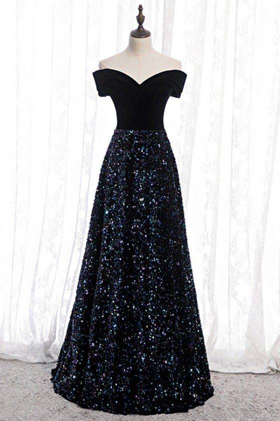 Sparkly Sequins Navy Blue Aline Long Prom Dress Off Shoulder