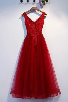 Long Tulle Aline Prom Dress With Lace Top Vneck - MYS69015