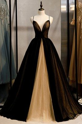 Formal Black With Champagne Tulle Prom Dress Vneck With Straps - MYS78046
