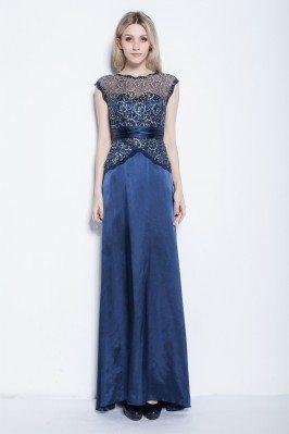 Lace Satin Long Party Dress