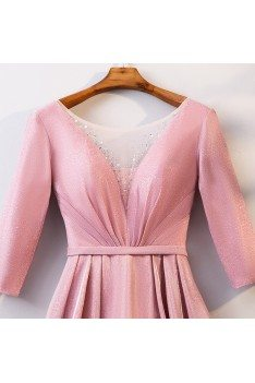 Illusion Vneck Long Pink Party Dress With Metallic Fabric - MYS68039