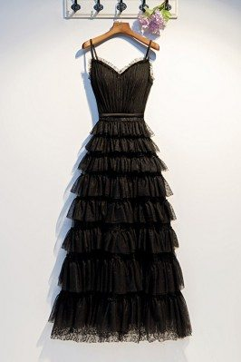 Long Black Sweetheart Aline...