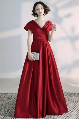Elegant Burgundy Pleated...