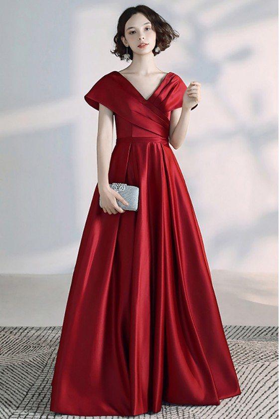 Elegant Burgundy Pleated Satin Vneck Formal Evening Dress With Cap Sleeves - DWS78029