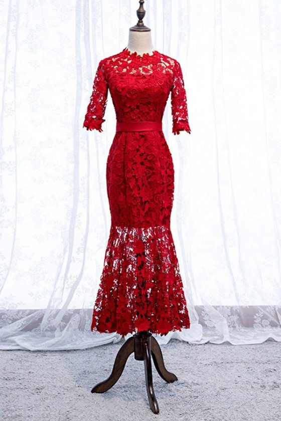 Gorgeous Red Lace Mermaid Tea Length Party Dress With Sleeves - MYS69079