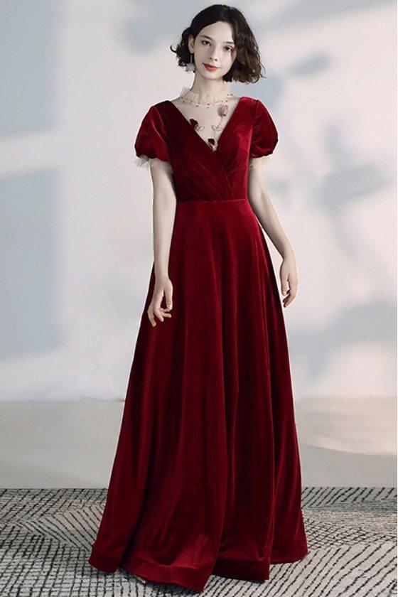 Simple Velvet Vneck Long Burgundy Formal Dress With Sleeves