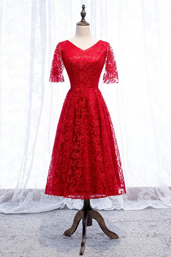 Pretty Red Lace Vneck Party Dress Tea Length With Sleeves - MYS69078