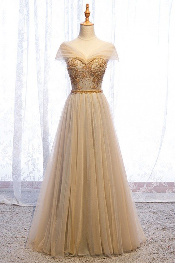 Elegant Champagne Gold Long Tulle Prom Dress With Beading