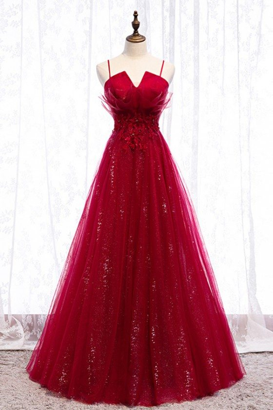Flowy Long Tulle Sequins Burgundy Prom Dress With Straps - MYS79005