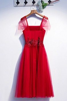 Burgundy Tea Length Tulle Special Occasion Dress With Tulle Sleeves - MYS79010