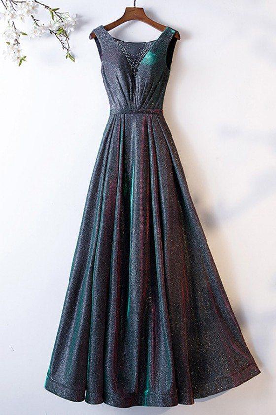 Special Ombre Black Green Metallic Prom Dress Sleeveless